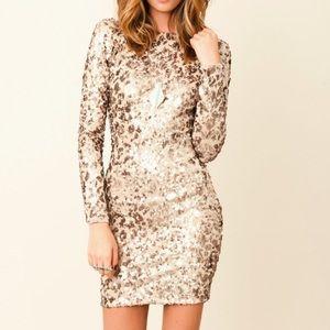 Dress The Population Cheetah Long Sleeve Sequin